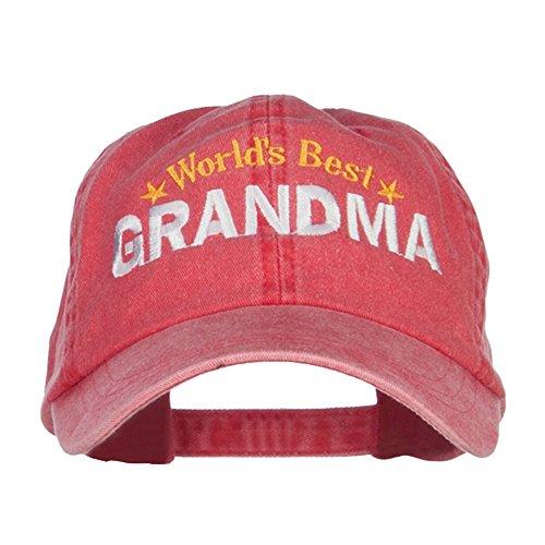 World's Best Grandma Embroidered Washed Cap - Red OSFM (Best Grandma Womens Cap)