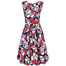 DREAGAL Vintage 1950's Floral Spring Garden Party Picnic Dress Party Cocktail Dress