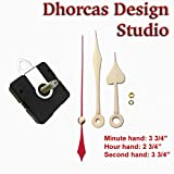 Dhorcas (#13) 3/4'' Threaded Motor and Gold 3 3/4'' Hands and Hanger, Quartz Clock Movement Kit for Replacement