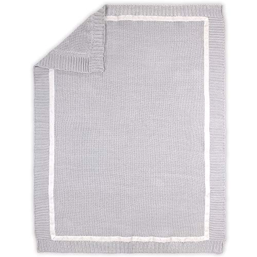 Grey Sweater Knit 100% Cotton Baby Blanket - Farmhouse Collection by The Peanutshell