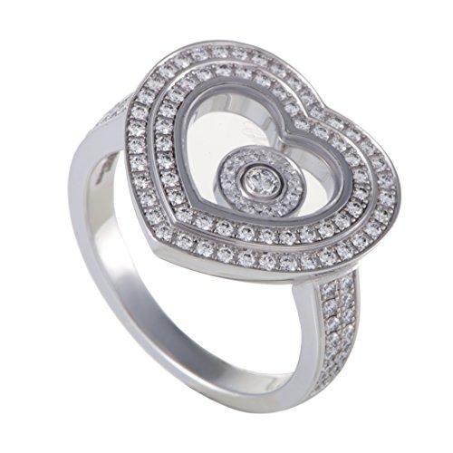 Chopard Happy Diamonds 18K White Gold Full Diamond Pave Floating Diamond Heart Ring (Gold Happy Diamond Heart)