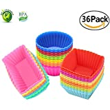 Silicone Cupcake Muffin Baking Cups Liners 36 Pack Reusable Non-Stick Cake Molds Sets …