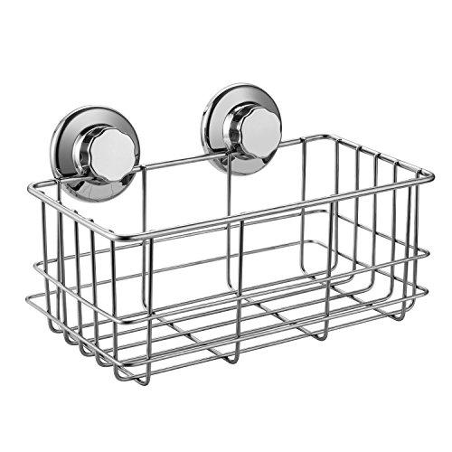 ARCCI Vacuum Suction Cup Shower Caddy Basket - Shampoo Conditioner Holder with Deep Storage Shelf for Bathroom & Kitchen