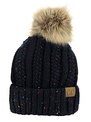 C.C Thick Cable Knit Faux Fuzzy Fur Pom Fleece Lined Skull Cap Cuff Beanie, Confetti ()
