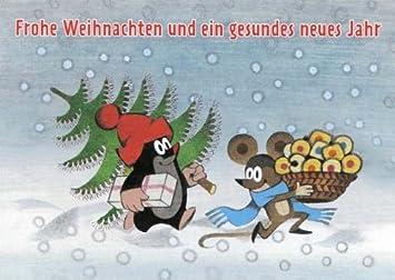 Frohe Weihnachten Und Ein Gesundes Neues Jahr.Weihnachtspostkarte Maulwurf Mit Lustigen Sprüchen Frohe