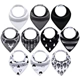 10-Pack Bandana Bibs Upsimples Baby Drool Bibs for Drooling and Teething, Organic Cotton, Super Absorbent, 10 Stylish Design for Infant Baby Girls Boys Toddler, Baby Shower Gift Set