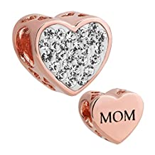 I Love Mom Heart Jewelry Charm Clear Birthstone Crystal New Bead Fit Pandora Bracelet (Rose Gold)