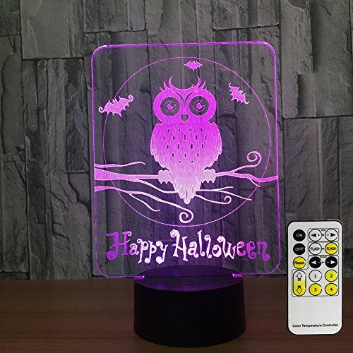 Easuntec Night Light Kids Owl lights 3d Night Light Adjustable 7 Colors Remote Mode 2017 Halloween Party Csygood(Owl)
