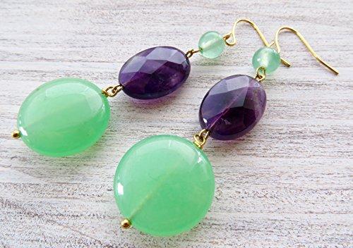 Purple Jade Drop - Purple amethyst earrings, green jade earrings, coin earrings, long drop earrings, gemstone earrings, natural stone jewelry