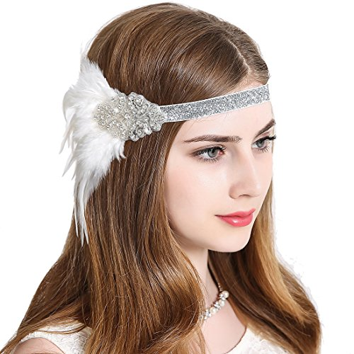 Vintage Flapper Headband 1920s Art Deco Gatsby Feather Headpiece Sparkling Hair Accessories White