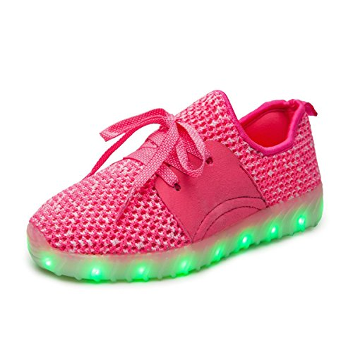 [LED shoes Light Up Shoes USB Charging LED Flashing Sneakers Christmas Gift(Pink 11.5 M US Little Kid)] (Designer Latin Dance Costumes)