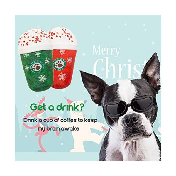 Mihachi-2PCS-Christmas-Squeaky-Plush-Dog-Toy-Starbarks-Coffee-Series-Interactive-Game-Cute-Santa-Snowflake-Print-Red-Green