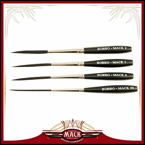Brush Scroll - Set of 4 Sizes 00-2 Series Bobbo-Mack Super Quad 4 Action Scroll Pinstriper Brushes Blue Squirrel & Black Synthetic Hair