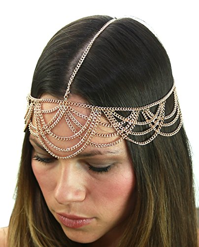 Price comparison product image Chandelier Criss Cross Draping Strand Head Chain Jewelry in Gold-Tone