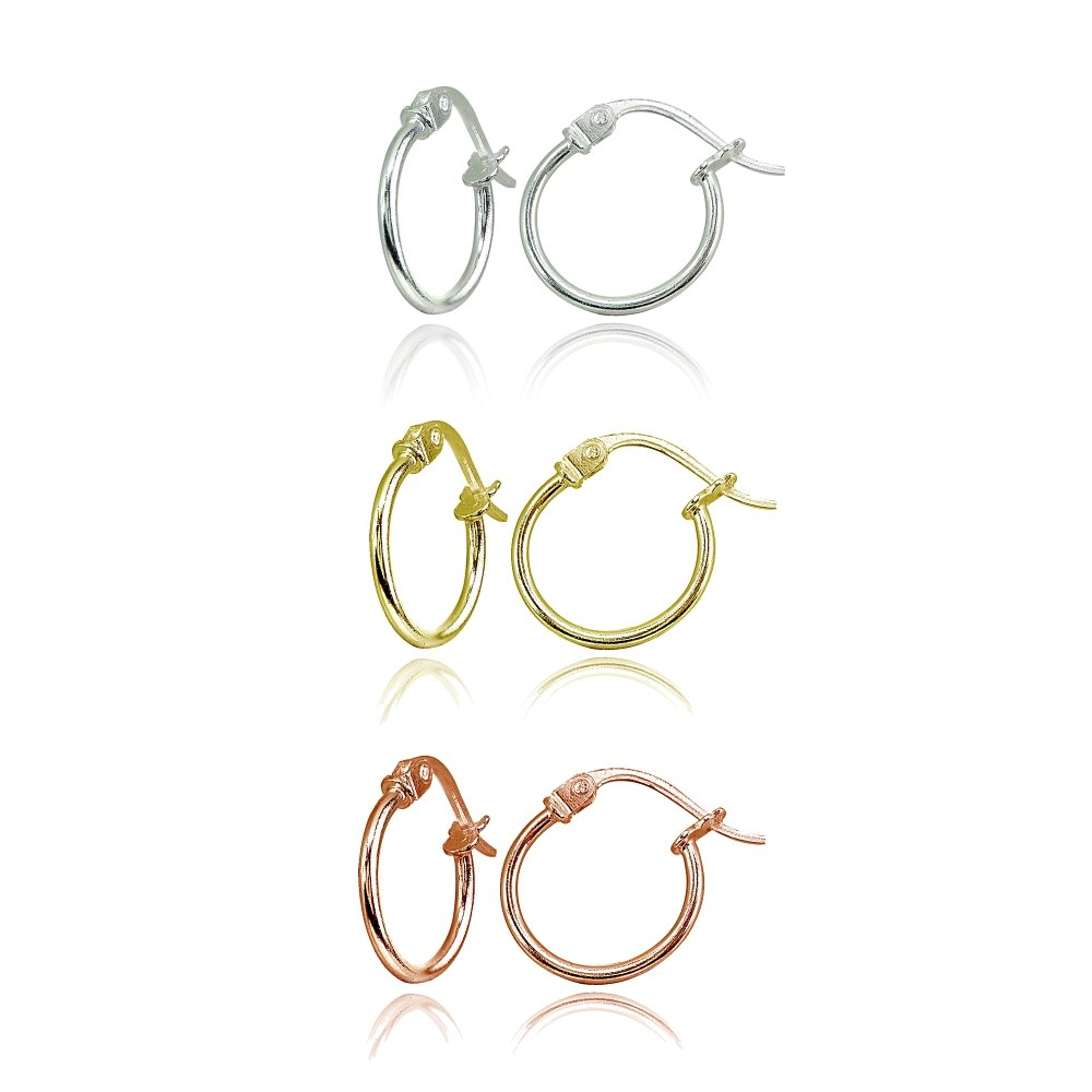3 Pair Set Sterling Silver, Yellow & Rose Gold Flashed Tiny Small 12mm High Polished Round Thin Lightweight Unisex Click-Top Hoop Earrings by Hoops 4 Less (Image #1)