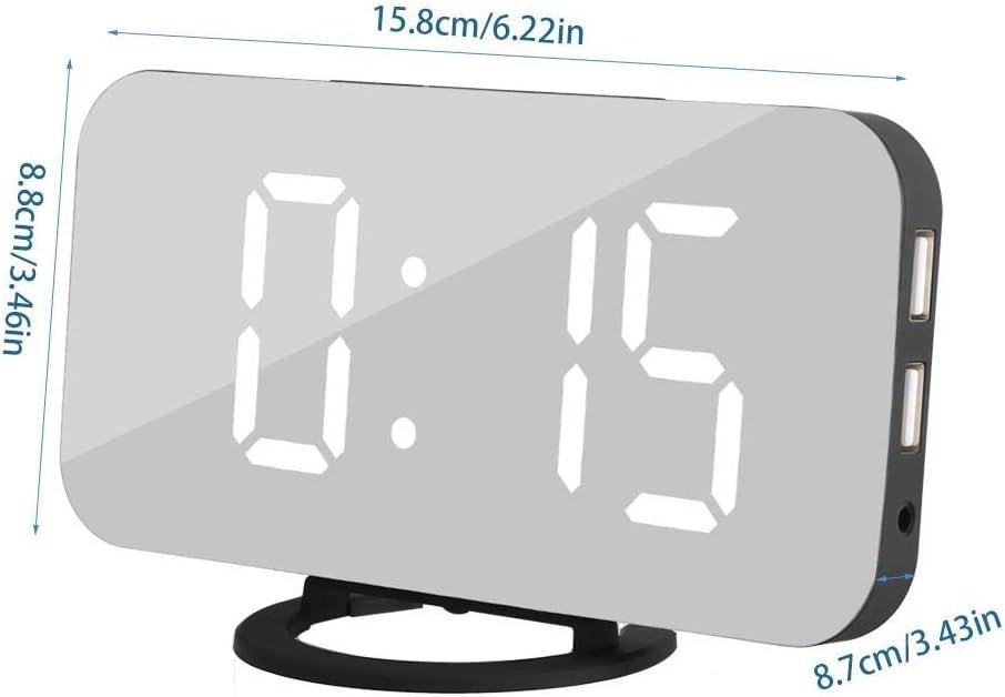 mit Uhr u Wecker weiß 6,5 Watt Chrom LED Tischleuchte SOPHIE 1x LED á 6,5W inkl