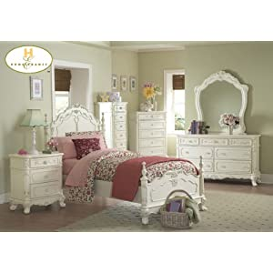 Cinderella 5pc Twin Bed Set Ecru Painted Finish