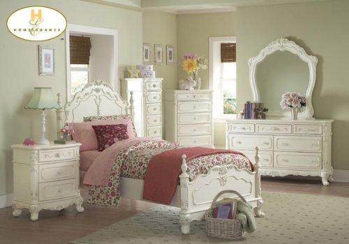 Cinderella 5pc Twin Bed Set Ecru Painted Finish