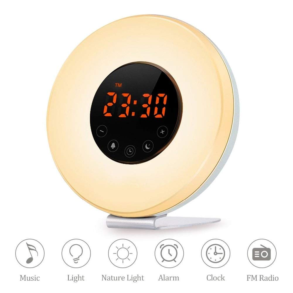 Youtree Touch Wake-up Multi-Function Colorful Atmosphere Light Natural Wake-up Sleep Night Light with Sunset Simulation for Bedroom Light