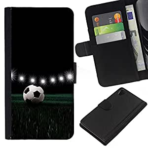 Sony Xperia Z2 D6502 D6503 D6543 L50t L50u , la tarjeta de Crédito Slots PU Funda de cuero Monedero caso cubierta de piel ( Football Stadium Night Lamps Lights Game)