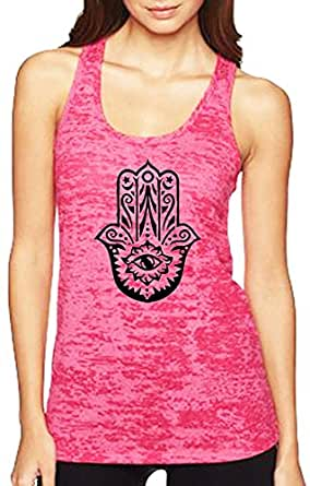 Yoga Tank Top - Burnout Racerback - Hamsa Design (X-Small, Pink)