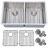 PRIMART PHU33DE Handcrafted 33 X 19 Inch 16 Gauge 50/50 Double Bowls Undermount Stainless Steel Kitchen Sink w/Bottom Grid Sink Strainer