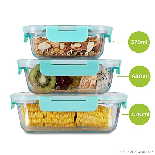 Allo FoodSafe 370ml, 640ml & 1040ml Rectangle Glass Food Storage Container with Break Free Detachable Lock   450°C Oven Safe Microwave Safe   High Borosilicate   Leak Proof   Set of 3 Price & Reviews