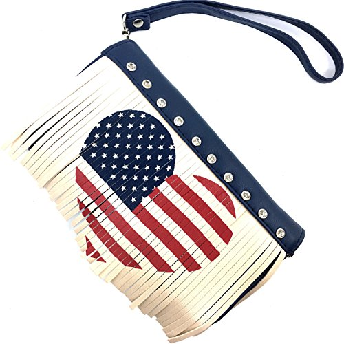 Justin West America USA Fringe Flag Heart Wristlet Trifold Wallet Attachable Long Strap Collection (Fringe -