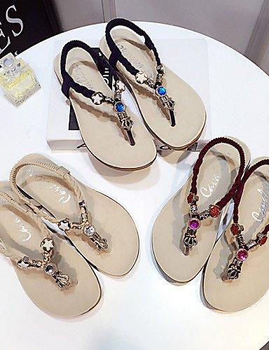 LFNLYX Zapatos de mujer-Tacón Plano-Tira en T / Chanclas / Punta Redonda-Sandalias-Exterior / Casual-Semicuero-Negro / Rojo / Beige beige