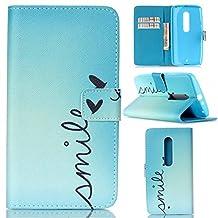 Motorola Moto X Play Case, Moto X Play Case,Gift_Source [Smile]Luxury Wallet PU Leather Case Flip Cover Built-in Card Slots Flip case Pattern For Motorola X Play