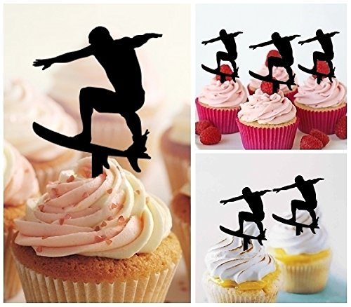 TA0022 Surfboard Silhouette Party Wedding Birthday Acrylic Cupcake Toppers Decor 10 pcs