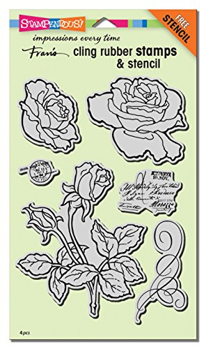 Stampendous Cling Rubber Stamp Set, Rose Garden W/Template by STAMPENDOUS