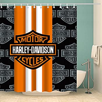 Motorcycle Racing Waterproof Shower Curtain Alphabet Letter Panel Polyester Orange Black 70 X Inches With 12 Pack Plastic Hooks
