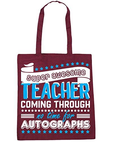 HippoWarehouse - Bolsa de playa con estampado «Super Awesome Teacher Coming Through No Time For Autographs»; 42cm x 38cm, 10litros granate