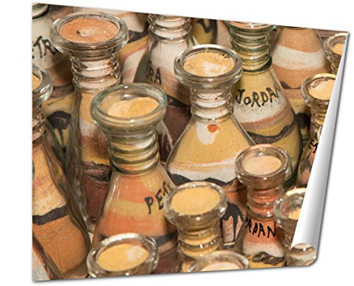 Ashley Giclee Traditional Local Souvenirs Jordan Bottles Sand Shapes Desert Fine Art Decoration for kitchen, living room, home office, den or bedroom, ready to frame, 24x30 Print by Ashley Giclee