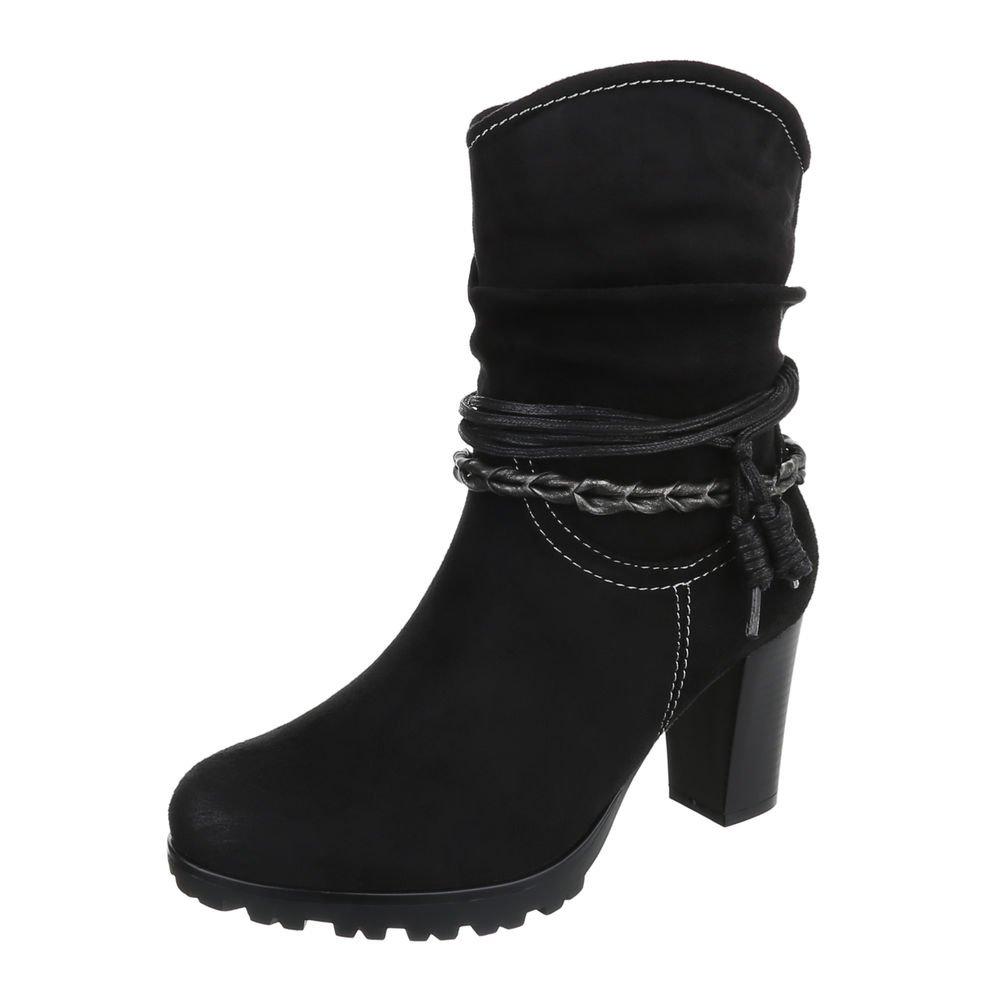 Ital-Design High Heel Stiefeletten Damenschuhe Schlupfstiefel Pump Western Style Reißverschluss Stiefeletten  41 EU Schwarz