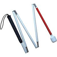 White Cane Aluminum Mobility Folding Cane for the Blind (Folds Down 5 Sections) ,120 cm (47.2 inch)