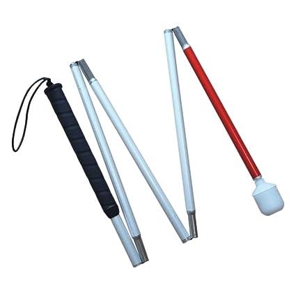 Aluminio Baston Blanco para Ciegos y Baja Vision Plegable, 5 Secciones, 120cm (47.2