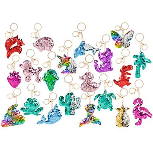 Flip Mermaid Sequin Assortment Keychain Party Favors Party Supplies (24 pack) ()