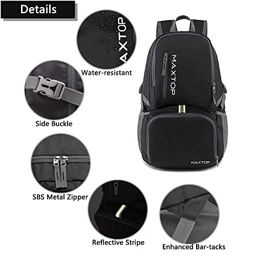 MAXTOP 30L Ultra Lightweight Packable Backpack Foldable Rucksack Water Resistent For Men Women Kids Outdoor Camping Hiking Travel Daypack Handy Durable