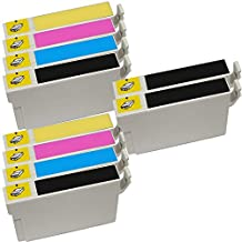 10 Inkfirst® 126 Ink Cartridges Compatible Remanufactured for Epson 126 Black, 126 Cyan, 126 Magenta, 126 Yellow (High Capacity) (2 Set + 2 Black) WorkForce 60 435 520 545 630 633 635 645 840 845 WF-7010 WF-7510 WF-7520 T1261, T1262, T1263, T1264