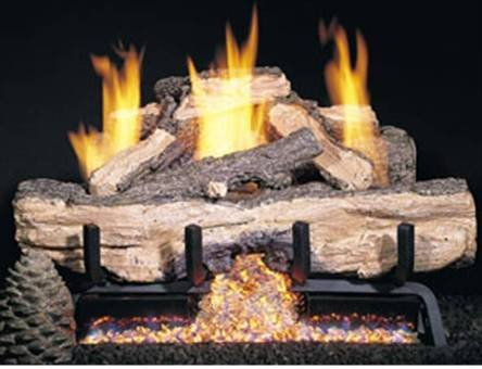Charred Split Gas Logs (Peterson Gas Logs CHASG10-30-15 30in. Charred Aged Split Vent-Free Log Set Includes Variable Flame Remote Control)
