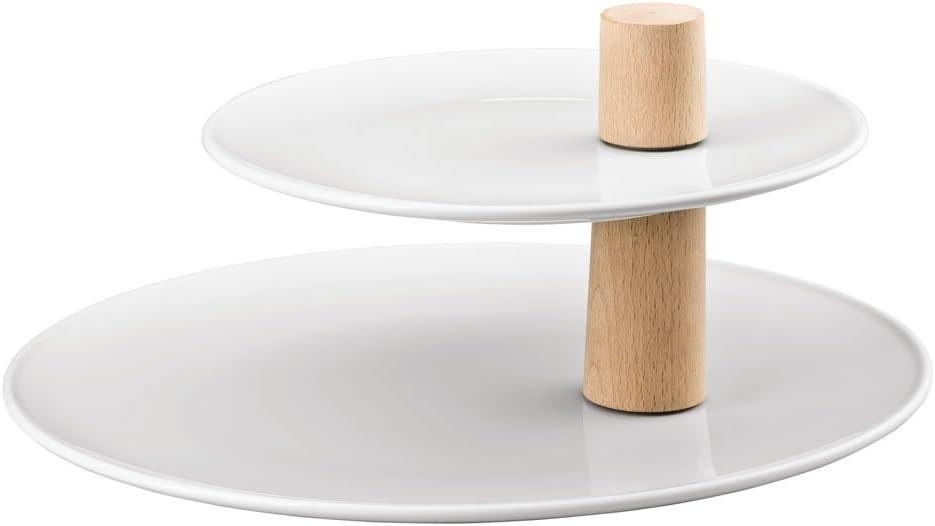 Frutero de Dos Pisos, Porcelana, Blanco