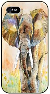 Brown Elephant art, full body - iPhone 4 / 4s black plastic case / Animals and Nature