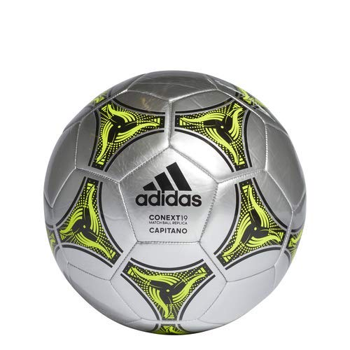 : adidas Conext 19 Capitano Soccer Ball, Silver Metallic/Black/Solar Yellow, 3