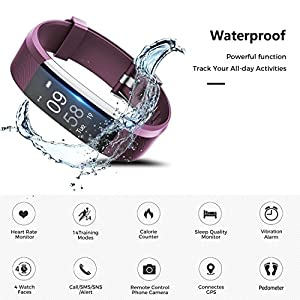 Fitness Tracker Watch,TOOBUR IP67 Waterproof Activity Tracker with Pedometer Heart Rate and Sleep Monitor,Step Calorie Counter Wristband Smart Watch for Android and iOS (Purple)