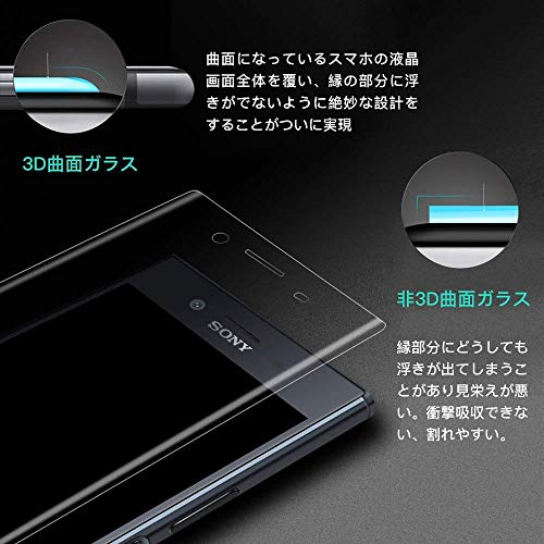 Sony Xperia XZ/XZS ガラスフィルム Sony エクスぺリア XZ/XZs SO-01J SOV34 601SO SOV35 SO-03J フィルム 専用 全面保護 3D全面 気泡ゼロ 指紋防止 9H 高鮮明 高透過率 耐衝撃 クリア