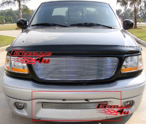 (APS Compatible with 2001-2003 Ford F-150 Harley Davidson Stainless Steel Polished Chrome 8x6 Horizontal Billet Grille Insert N19-S58358F )