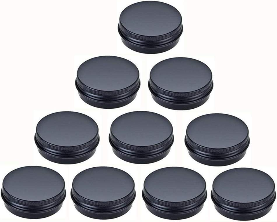 JKLcom Aluminum Metal Tin 1oz/30ml,Black Aluminum Tins Round Tin Cans Containers with Screw Top Lid (10)