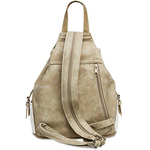 CASPAR Fashion - Bolso cruzados para mujer #15117 weiß beige Rucksack